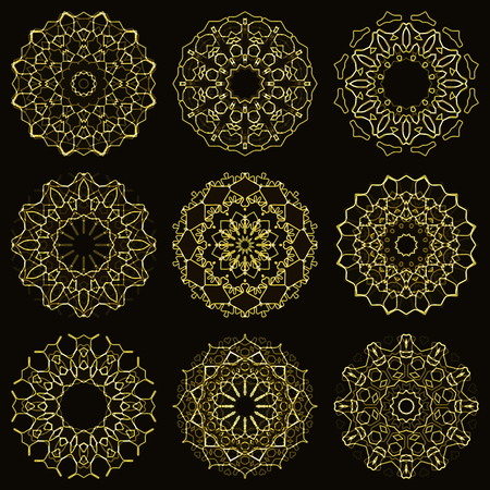 dodge: Set of gold abstract symbols with shining effect.