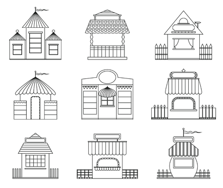 Set of fairy houses in outline style.