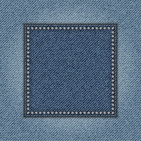 Jeans square with diamonds on jeans background.