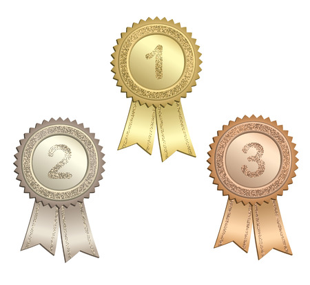 Set of circle awards with numbers and ribbons.