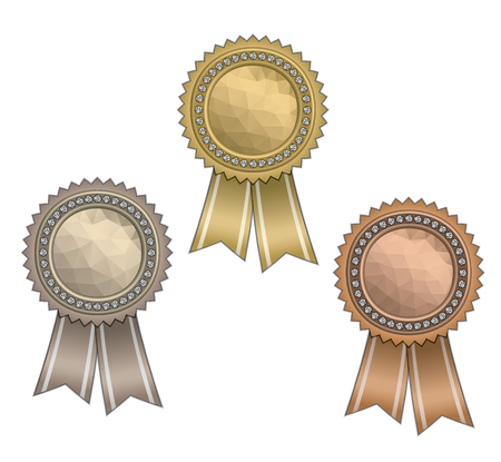 Set of circle awards with ribbons, diamonds and polygonal texture.