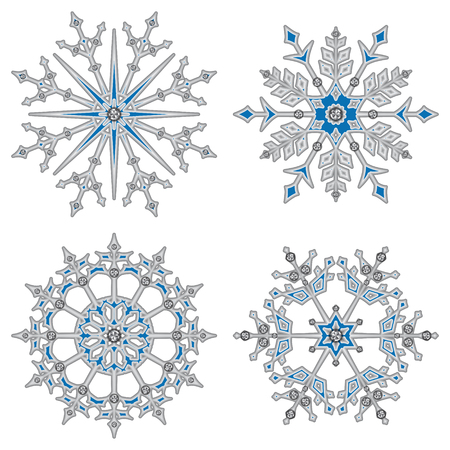 Set of white volume  snowflakes with diamonds.