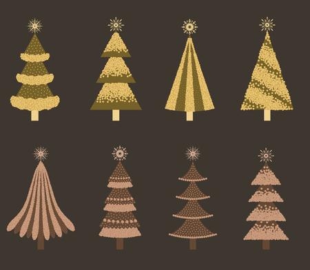 Set of isolated Christmas trees. Çizim