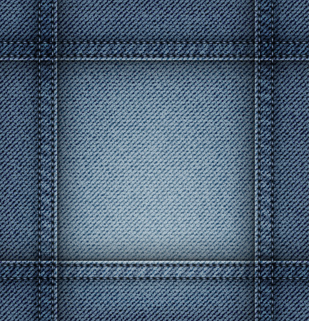 Jeans frame with blue stitches on blue jeans background. Çizim