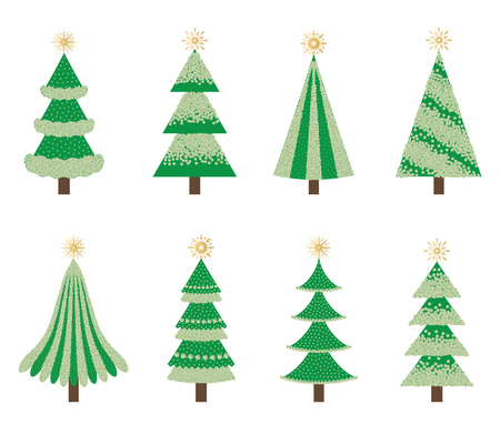 Set of isolated green Christmas trees. Çizim