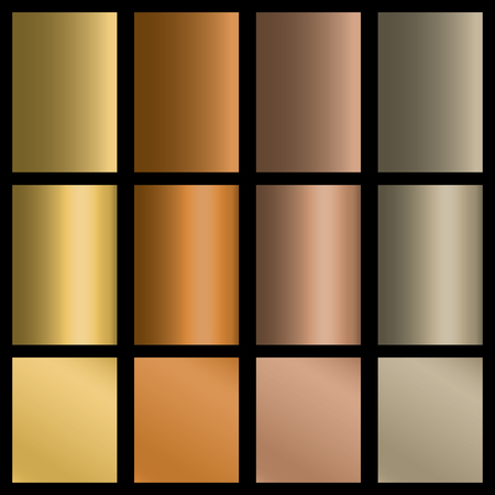 Set of gradients in gold, silver, bronze colors. Stock Illustratie