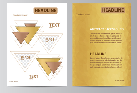 Brochure template layout with triangles in size A4. Çizim