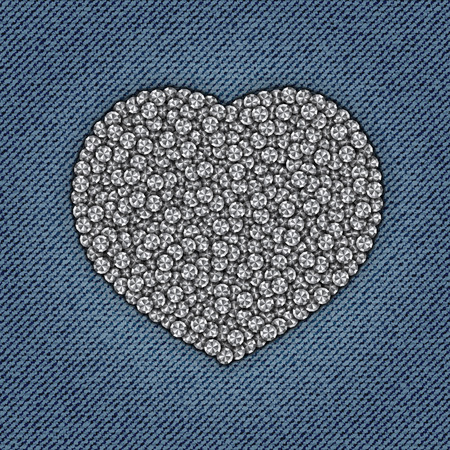 A heart with diamonds Vector Illustration