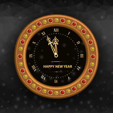 New Years Eve clock on black background.