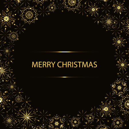 Abstract yellow Christmas background with glittering snowflakes and stars.