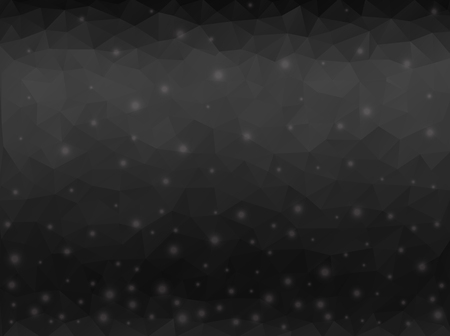 Abstract black polygonal background with light round spots.