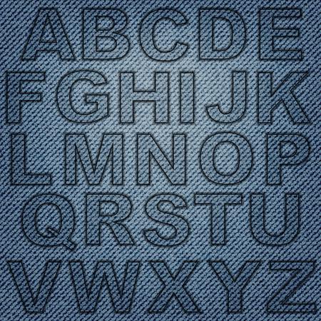 Set of jeans letters on blue denim background.