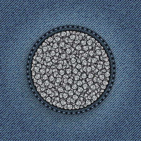 A circle with diamonds on blue jeans background.