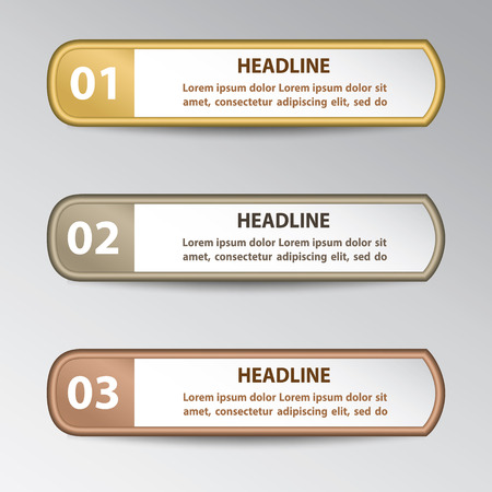 Set of stickers with numbers and signs in gold, silver and bronze colors for infographic. Çizim