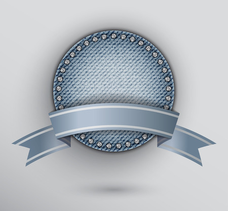 Blue circle jeans award with blue ribbon and diamonds.