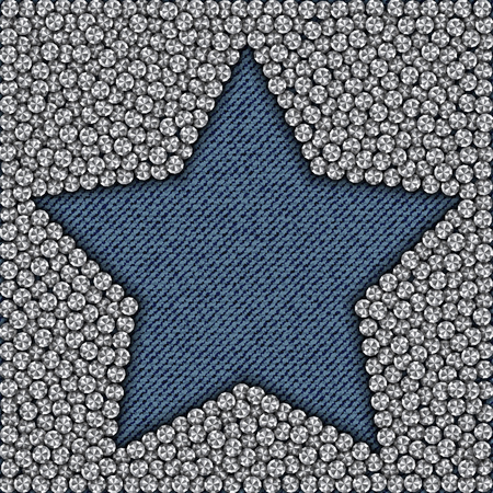 Blue jeans star with diamonds in outside.