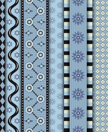 Set of seamless geometric winter borders with snowflakes.