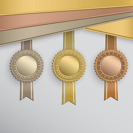 Set of circle award badges on ribbons.