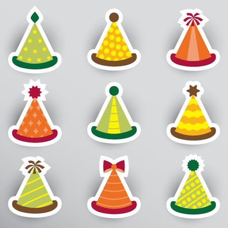Set of flat party hat stickers. Çizim