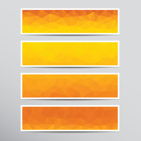 Set of banners with polygonal background in orange and yellow colors.