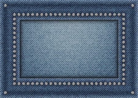 Jeans frame with spangles on jeans background. Vettoriali