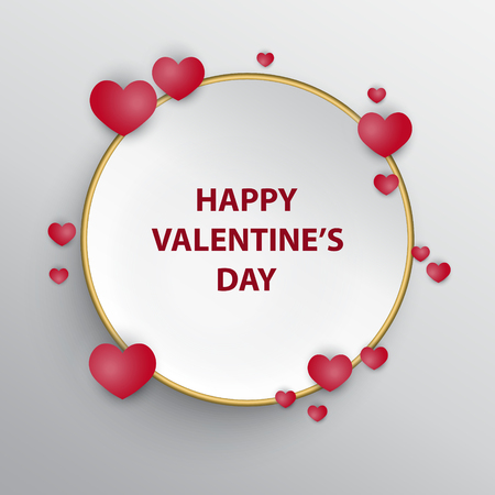 Greeting card for Valentines day with white circle frame and hearts.