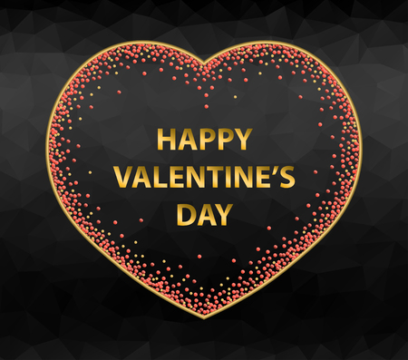 Greeting card for Valentines day with spotted heart on black polygonal background.