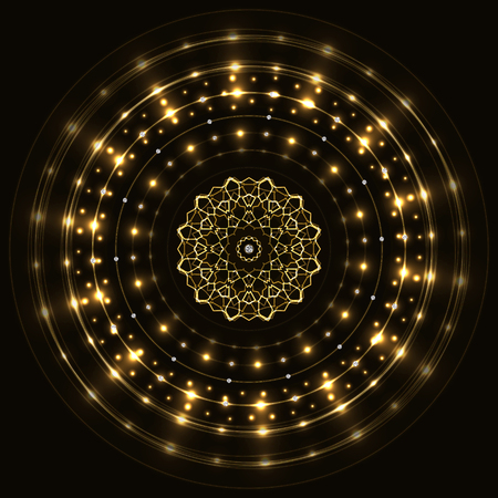Abstract gold round sparkling frame with mandala on black background.