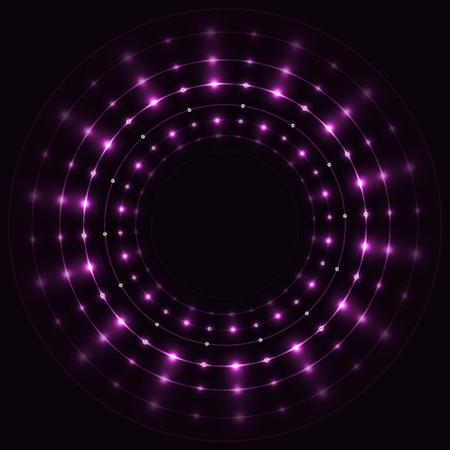 Abstract violet round sparkling frame on black background.