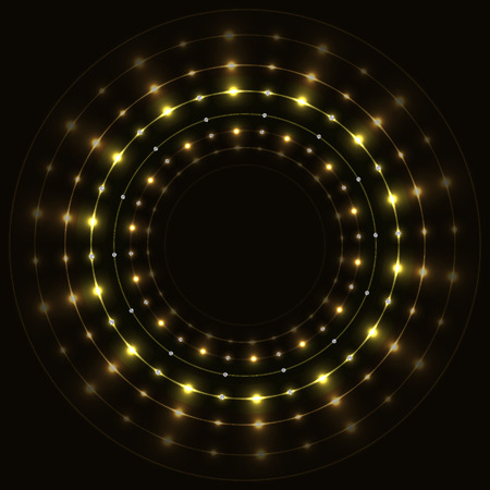 Abstract gold round sparkling frame on black background.