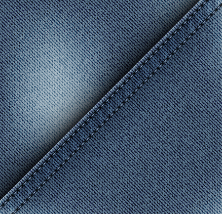 Blue diagonal jeans design with blue stitches.