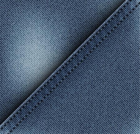 Niebieskie ukośne dżinsy z niebieskimi szwami. Ilustracje wektorowe