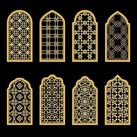 Set of arabic gold windows on black background. Çizim