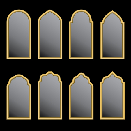 Set of arabic gold windows shape on black background. Çizim