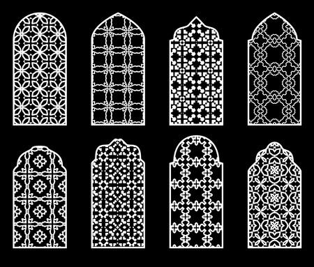 Set of arabic white windows silhouette on black background.