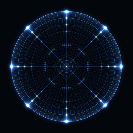 Blue radar range on black background.