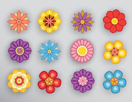 Set of cartoon flowers with shadow. Çizim