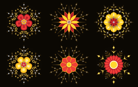Set of abstract flowers with shiny effect.