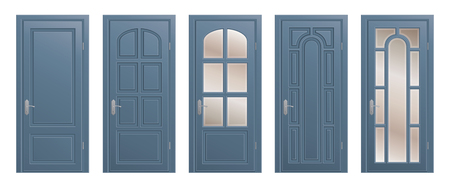Set of closed isolated doors on white background.