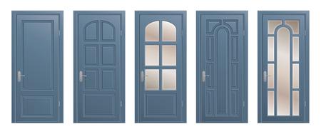 Set of closed isolated doors on white background.