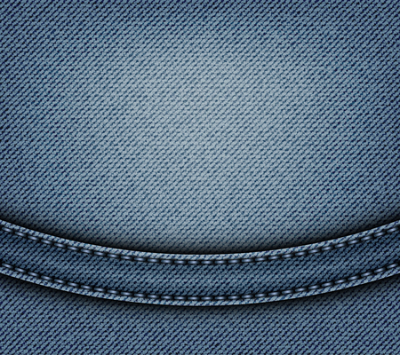 Jeans design with arch stripe and blue stitches on blue jeans background. Ilustração