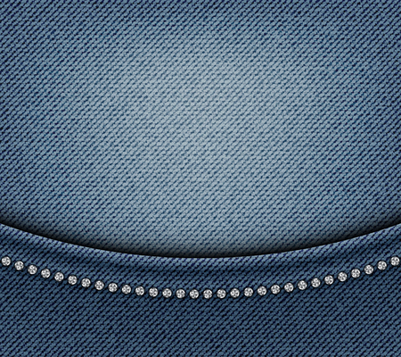 Jeans design with arch and silver sequins on blue jeans background. Vectores