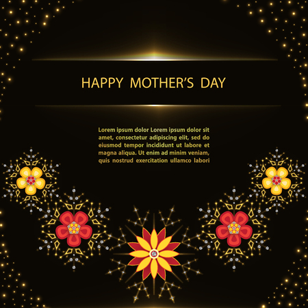 Mothers Day greeting poster with flowers on black background.