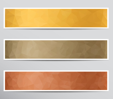 Set of banners with polygonal background on paper. Çizim