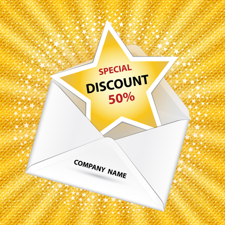 The paper envelope with a notice about special discount on yellow sunburst background.