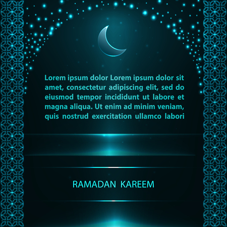 Ramadan Kareem greeting card with traditional blue arch and text on black background.