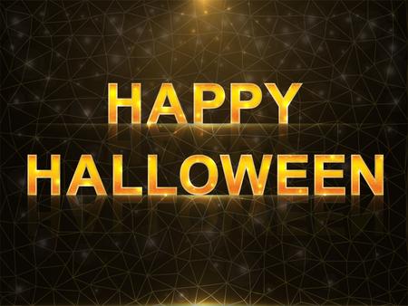 Halloween greeting card with orange letters on black sparkling background. Çizim