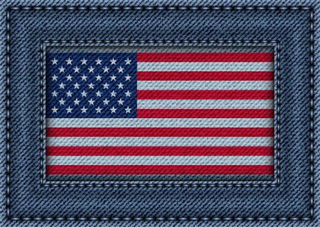 Jeans frame with stitches and flag of USA.
