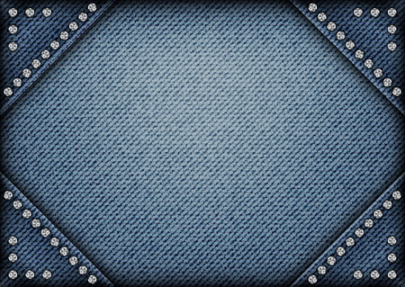 Jeans frame on jeans background with sequins on angles. Иллюстрация