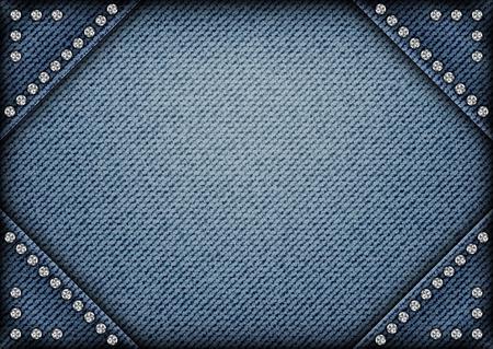 Telaio jeans su sfondo jeans con paillettes sugli angoli.